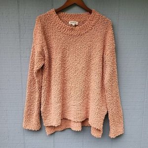 Listicle Boucle Knit Fizzy Sweater Peach Medium